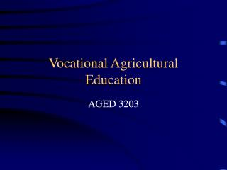 Vocational Agricultural Education