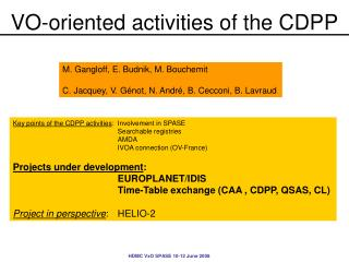 VO-oriented activities of the CDPP