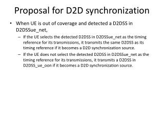 Proposal for D2D synchronization