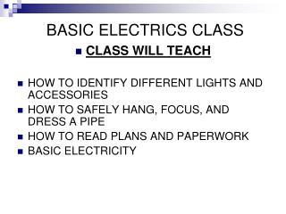 BASIC ELECTRICS CLASS
