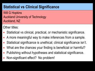 Statistical vs Clinical Significance