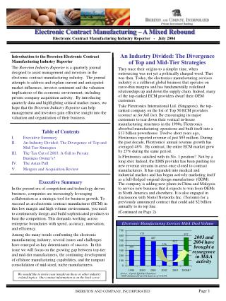 Electronic Contract Manufacturing   A Mixed Rebound Electronic Contract Manufacturing Industry Reporter   -   July 2004
