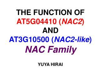 THE FUNCTION OF AT5G04410 ( NAC2 ) AND AT3G10500 ( NAC2-like ) NAC Family