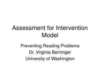 Assessment for Intervention Model