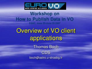 Overview of VO client applications