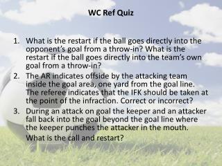 WC  Ref Quiz