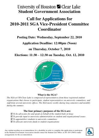 Call for Applications for  2010-2011 SGA Vice-President Committee Coordinator