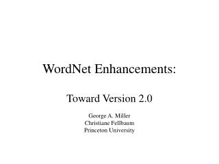 WordNet Enhancements: