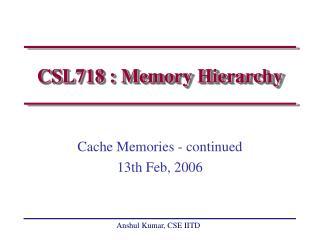CSL718 : Memory Hierarchy