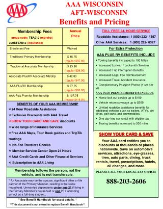 AAA WISCONSIN      AFT-WISCONSIN Benefits and Pricing
