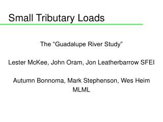 Small Tributary Loads