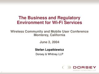 Stefan Lopatkiewicz Dorsey & Whitney LLP