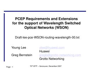 PCEP Requirements and Extensions  for the support of Wavelength Switched Optical Networks (WSON)