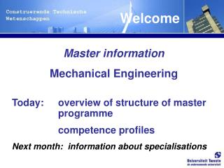 Master information Mechanical Engineering