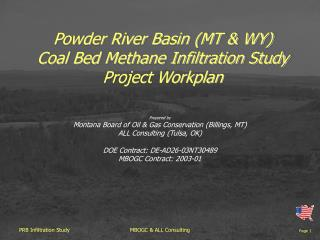Powder River Basin (MT & WY) Coal Bed Methane Infiltration Study Project Workplan