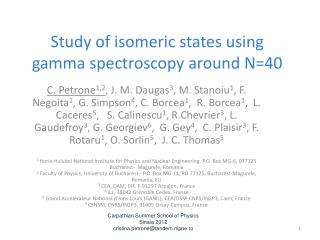 Study of isomeric states using gamma spectroscopy around N=40