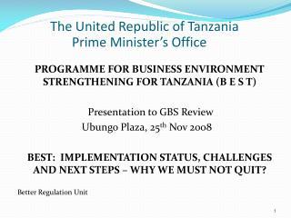 The United Republic of Tanzania Prime Minister�s Office