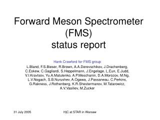 Forward Meson Spectrometer (FMS) status report