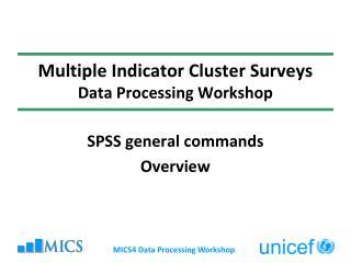 Multiple Indicator Cluster Surveys Data Processing Workshop