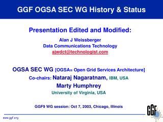 GGF OGSA SEC WG History & Status