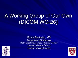 A Working Group of Our Own (DICOM WG-26)