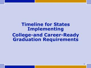 Timeline for States Implementing  College-and Career-Ready Graduation Requirements