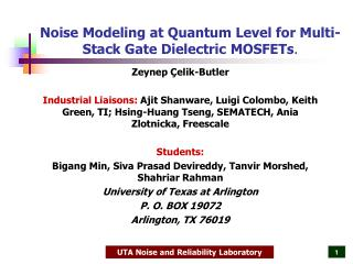 Noise Modeling at Quantum Level for Multi-Stack Gate Dielectric MOSFETs .