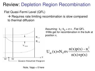 Review:  Depletion Region Recombination