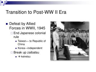 Transition to Post-WW II Era