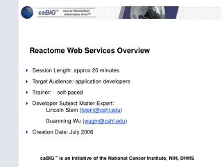 Reactome Web Services Overview