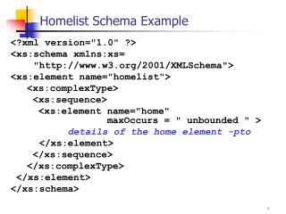Homelist Schema Example