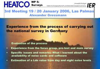 Experience from the process of carrying out the national survey in Germany