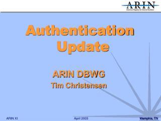 ARIN DBWG Tim Christensen