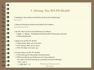 5. Sitzung. Das WS-PS-Modell
