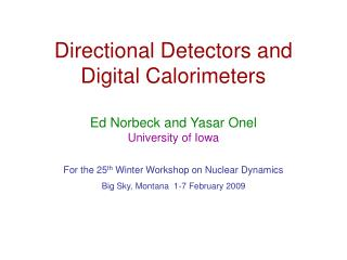 Directional  Detectors and Digital Calorimeters