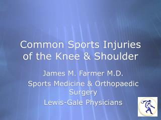 Common Sports Injuries of the Knee  Shoulder