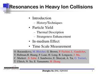 Resonances in Heavy Ion Collisions