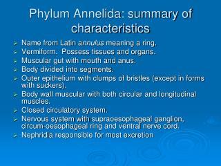 Phylum Annelida: summary of characteristics