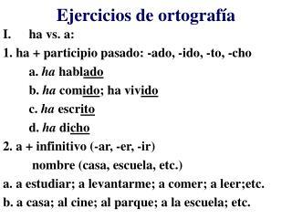 Ejercicios de ortograf�a