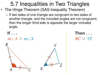 5.7 Inequalities in Two Triangles