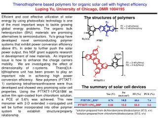 Thienothiophene based  polymers for organic solar cell with highest efficiency