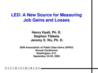 Major Federal Data Sources on Jobs/Employment