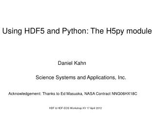 HDF & HDF-EOS Workshop XV 17 April 2012