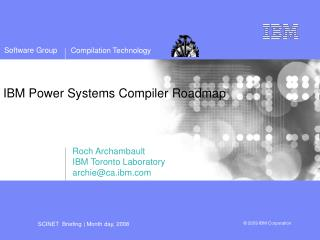 IBM Power Systems Compiler Roadmap