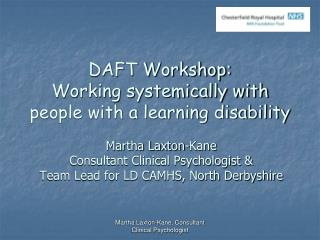 DAFT Workshop:  Working systemically with people with a learning disability