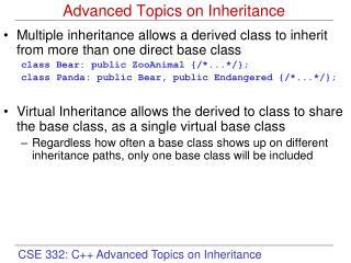 Advanced Topics on Inheritance