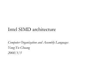 Intel SIMD architecture