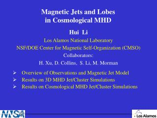 Magnetic Jets and Lobes  in Cosmological MHD
