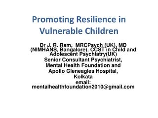 Promoting Resilience in Vulnerable Children
