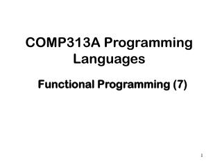COMP313A Programming Languages
